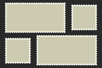 Blank Postage Stamps. Light Postage Stamps on black background. EPS10