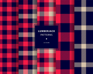 Lumberjack seamless patterns set
