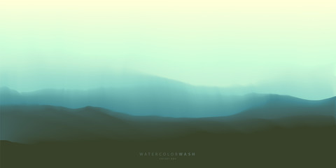 Ocean waves, twilight misty seascape background, vector watercolor effect