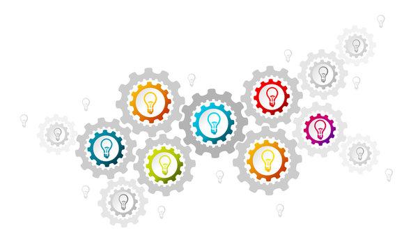 Idea concept illustration with light bulbs and gear