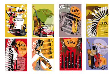 Jazz posters with musicians and musical instruments. Hand drawn vector illustration.