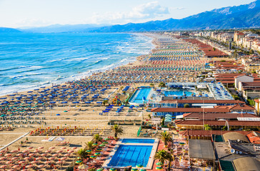 Viareggio aerial panoramic view of coastline, Versilia,Tuscany, Italy.