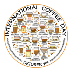 International coffee day card. Set of beverage icons.