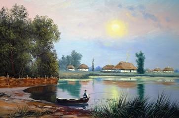 Oil paintings landscape, river, village