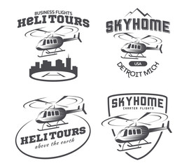 Set of helicopter logo, badges and emblems isolated on white background. Vector illustration of a helicopter takes off from the ground.