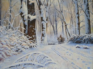 Winter, forest, oil paintings landscape