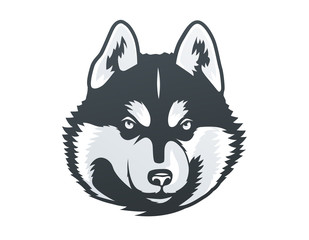 Siberian Husky head vector illustration.
