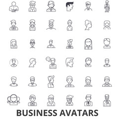 Business avatars, businessman, businesswoman, team, group, people, users line icons. Editable strokes. Flat design vector illustration symbol concept. Linear signs isolated on white background
