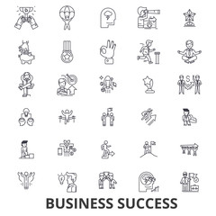 Business success, concept, growth, successful, achievement, corporate, award line icons. Editable strokes. Flat design vector illustration symbol concept. Linear signs isolated on white background