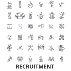 Recruitment, hiring, human resources, career, interview, employment, staffing line icons. Editable strokes. Flat design vector illustration symbol concept. Linear signs isolated on white background