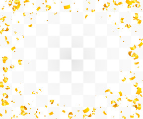 Abstract background with many falling golden tiny confetti pieces.