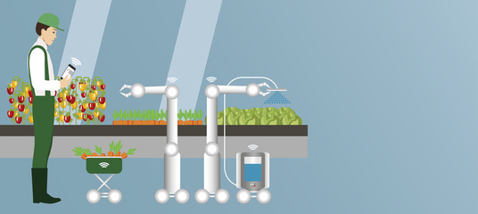 Wall Mural - Internet of things in agriculture. Smart farm with wireless control and robots. Vector illustration.
