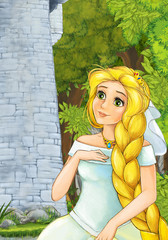 cartoon scene with princess in the forest near the castle tower - illustration for children