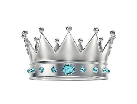Platinum, silver crown with blue gemstones