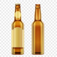 Realistic golden brown bottles of beer on alpha transperant background. Vector illustration.