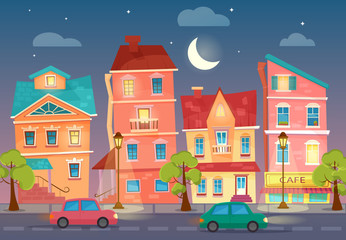 Vector cartoon City street at Night. Street lights in the night. Cars on a road.