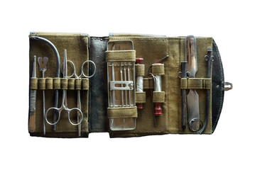 Ancient medical instrument in case