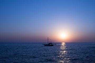 Sailing to the Sunset on Beautiful Mediterranean Sea in Side, Antalya, Turkey.
