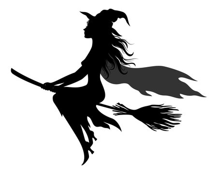 Witch Flying on Broom, Picture for Holiday Halloween, Black Silhouettes Isolated on White Background. Vector