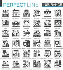 Insurance black mini concept symbols. Accident protection modern icon pictogram vector illustrations set.