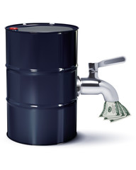 Dollars flowing from oil Barrels through the tap, isolated on white