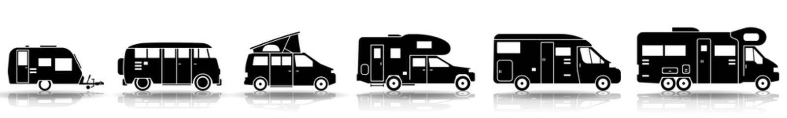 Camping - Verschiedene Wohnmobile (Set in Schwarz)