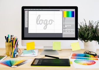 Obraz stationery desktop logo design - fototapety do salonu