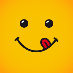 Yummy emoji smile face banner. Yummy emoji face with tongue on yellow background for World Smile Day. Vector illustration