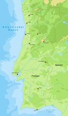 Portugal Landkarte - Höhenschichten (detailliert)