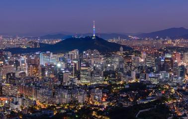 Aluminium Prints Seoul Seoul city and namsan tower at night in seoul,Korea