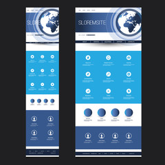 Responsive One Page Website Template - Header Design with Earth Globe - Desktop and Mobile Version