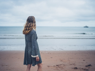 Woman in dress admiring the ocean