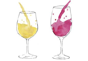 ワインを注ぐ 水彩とペンのイラスト