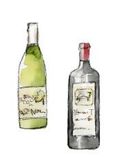 ワインのボトル 水彩イラスト