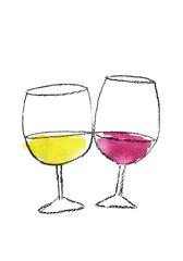 赤と白のワイングラス 水彩イラスト
