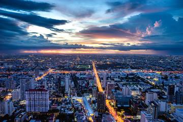 Bangkok, Thailand. 3 September 2017 - The twilight hour photo taken on the top floor of Baiyoke 2 Tower.