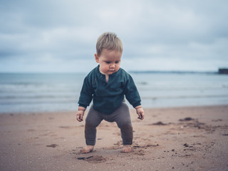 Little baby standing on the beach