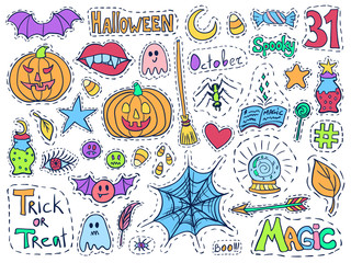 Patch badges halloween set holiday doodles colorful