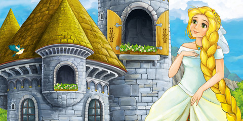cartoon scene of a princess - girl - sitting in the window illustration for children