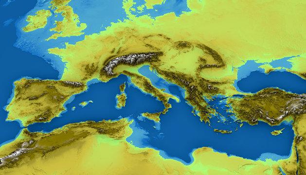 Cartina Fisica Del Mediterraneo.Cartina Del Mar Mediterraneo Ed Europa Mappa Delle Altezze Fondo Marino Africa E Medio Oriente 3d Cartina Fisica Illustrazione Stock Adobe Stock