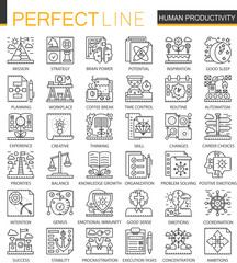 Human productivity outline mini concept symbols. Time management and discipline modern stroke linear style illustrations set. Perfect thin line icons.
