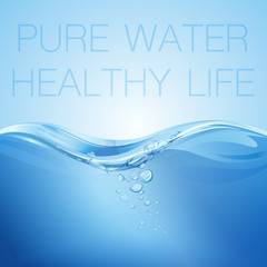 Water wave transparent surface with bubbles. Pure water healthy life. Vector illustration.