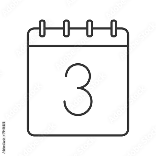 Third Day Of Month Linear Icon Stock Image And Royalty Free Vector