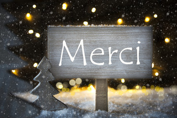 White Christmas Tree, Merci Means Thank You, Snowflakes