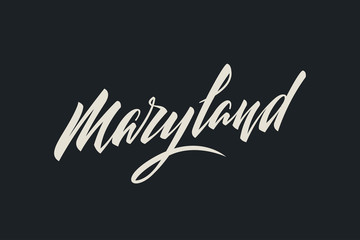 Maryland City USA State Word Logo Name Hand Painted Brush Lettering Calligraphy Logo Template