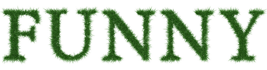 Funny - 3D rendering fresh Grass letters isolated on whhite background.