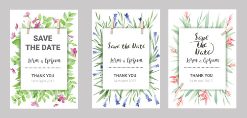 Hand drawn vector save the date set, watercolor invitation template with flower. vector illustration
