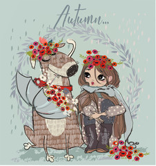 cute autumn girl with dog