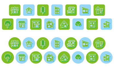 家と木のエコイメージアイコン(角丸長方形と円形)