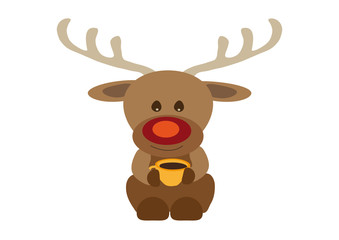 Happy smiling reindeer Rudolf drinking coffee from orange yellow tea cup